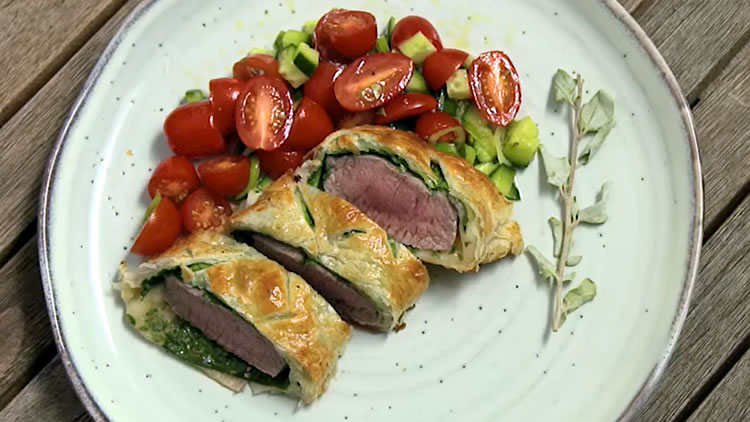 Salt Bush rubbed Lamb Wellington