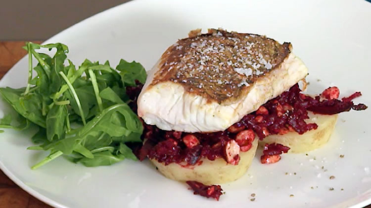 Crispy skinned Gold Band Snapper with beetroot dressing